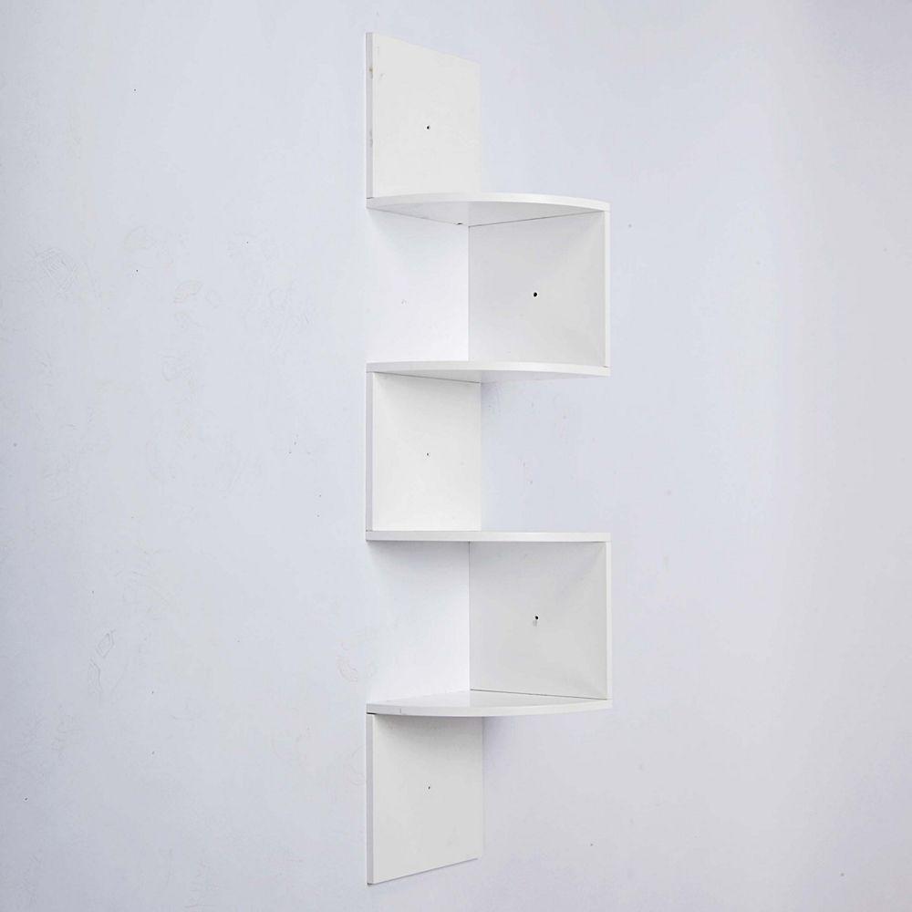 nexxt Provo 57-inch x 12-inch x 12-inch 4-Tier Wood Corner Shelf in White