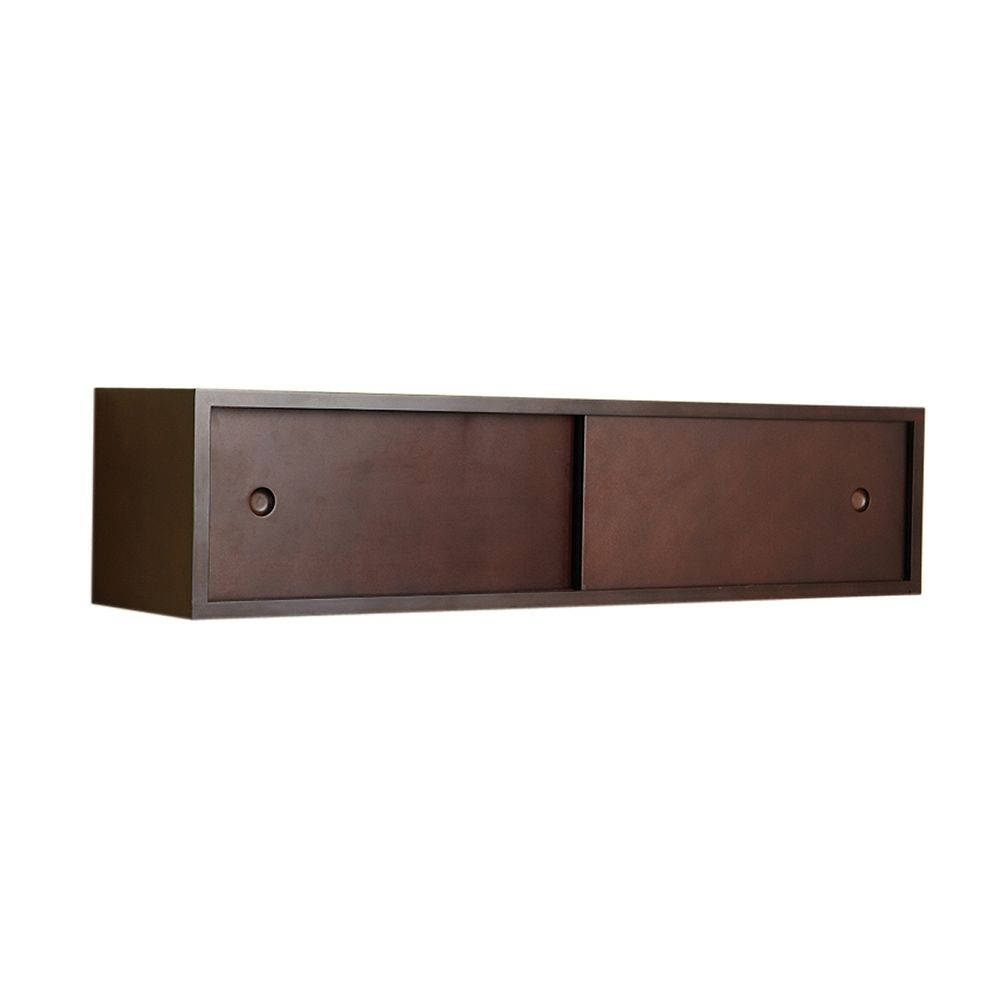 nexxt Reach Wall Wood Shelf With Dual Slide Doors In Espresso, 32 X 7.5 X 7.5 Inch