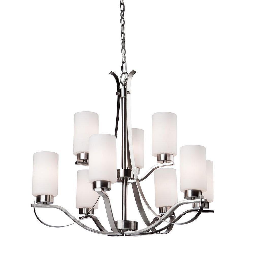 Filament Design 9 Light Ceiling Polished Nickel Incandescent Chandelier