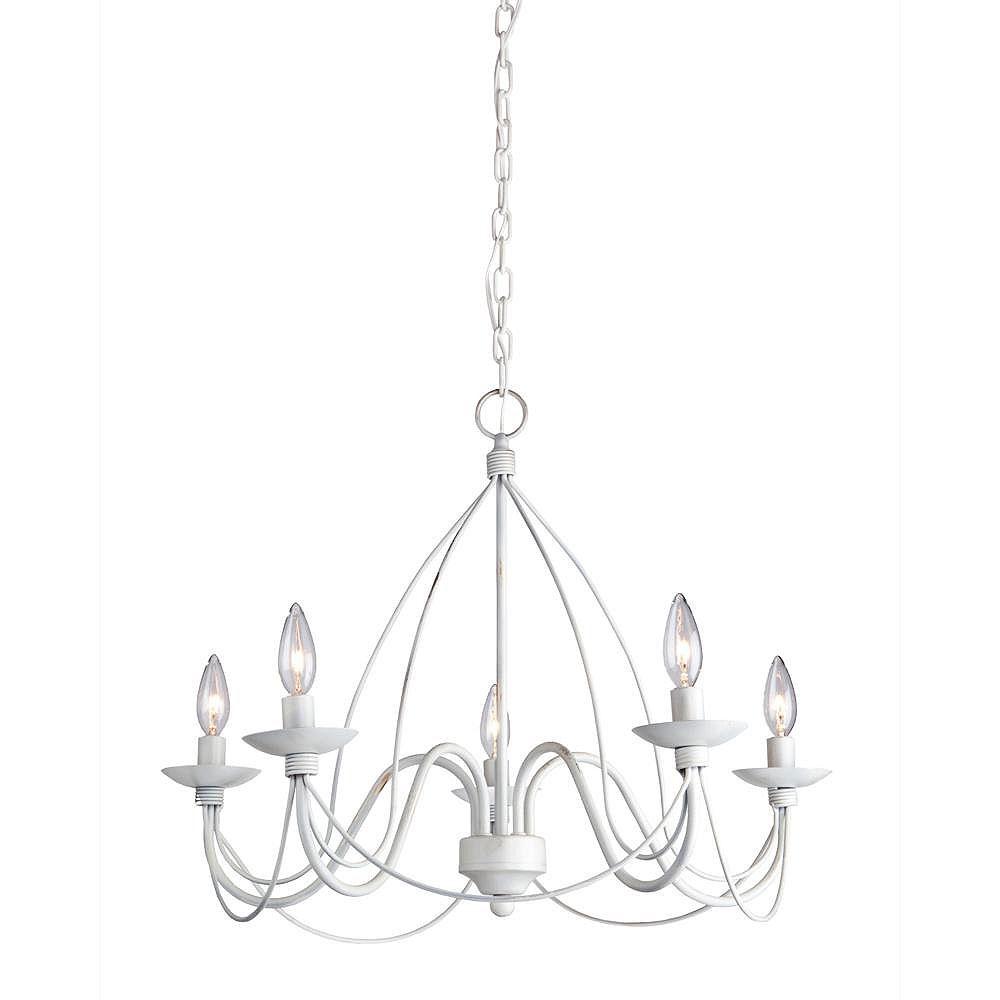 Filament Design 5 Light Ceiling Antique White Incandescent Chandelier