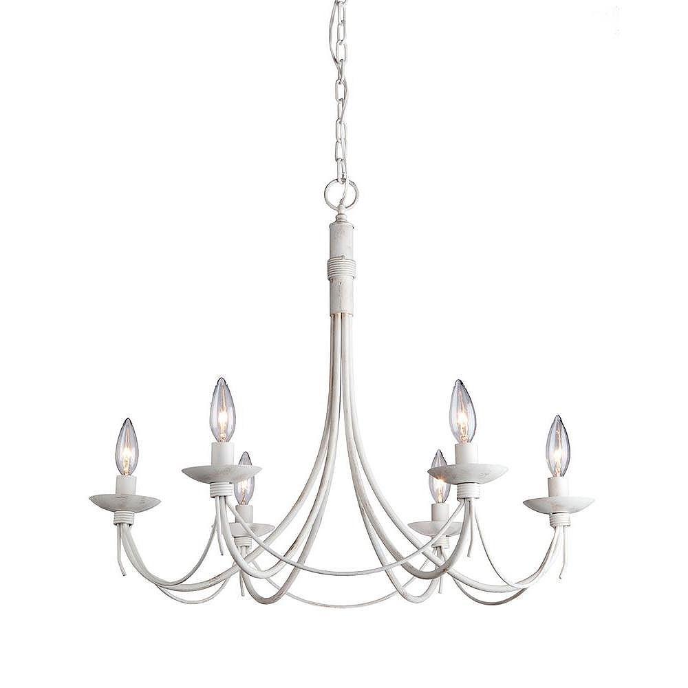 Filament Design 6-Light Ceiling Antique White Chandelier