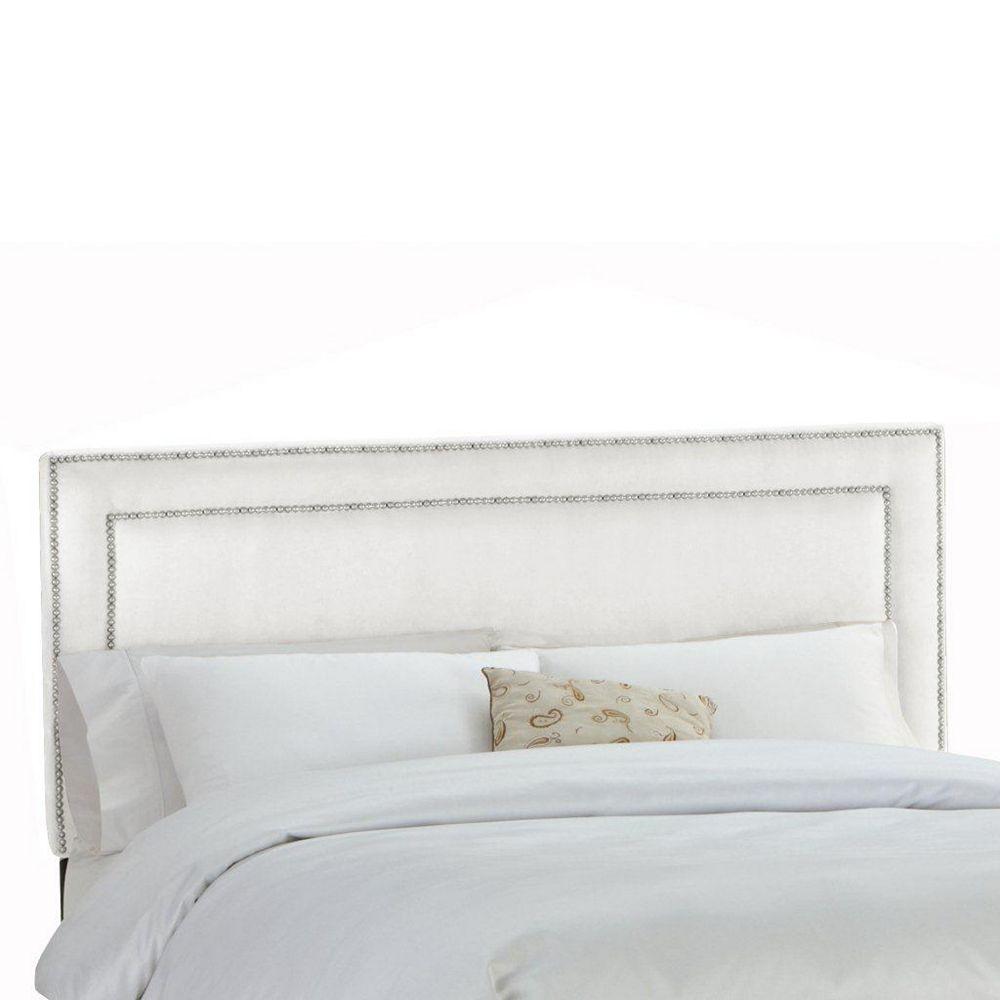 Skyline Furniture Upholstered Twin Headboard in Premier Microsuede White