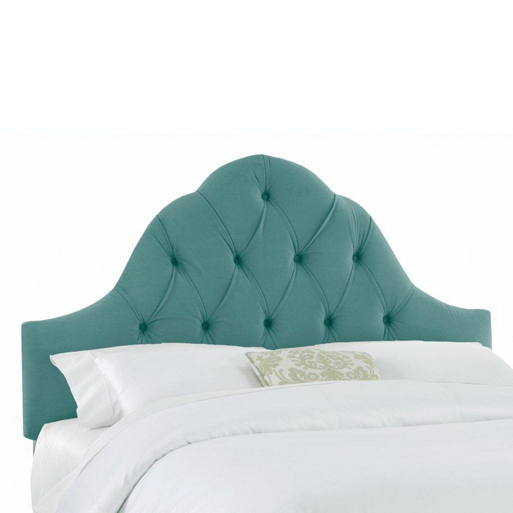 Skyline Furniture Upholstered Queen Headboard in Velvet Caribbean