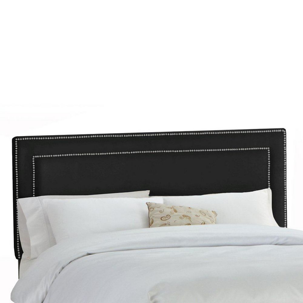 Skyline Furniture Upholstered California King Headboard in Premier Microsuede Black