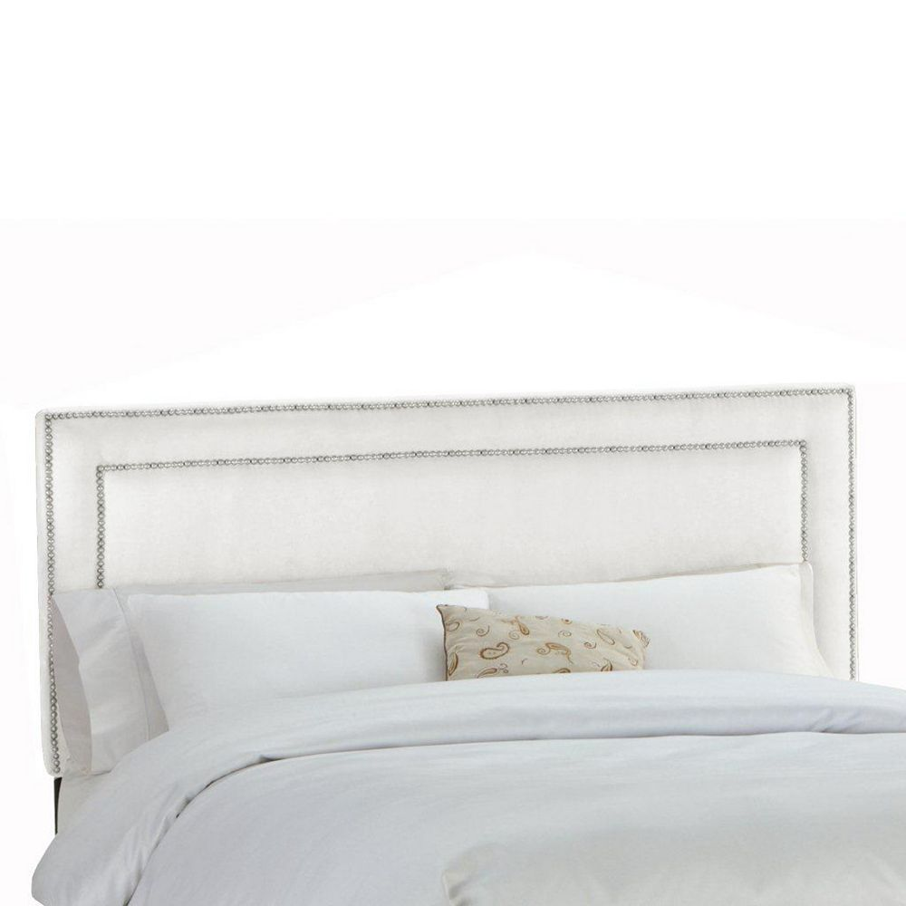 Skyline Furniture Upholstered Full Headboard in Premier Microsuede White
