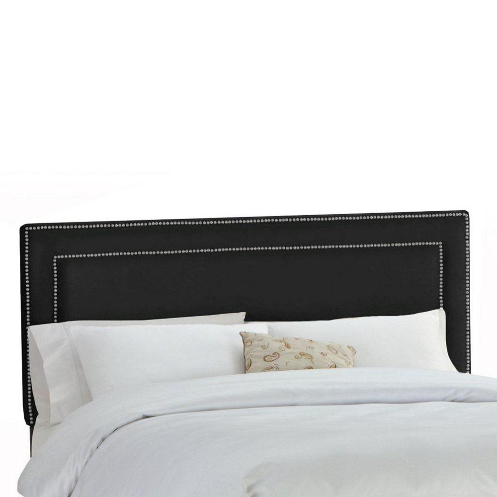 Skyline Furniture Upholstered Full Headboard in Premier Microsuede Black