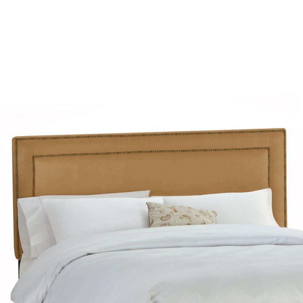 Skyline Furniture Upholstered King Headboard in Premier Microsuede Tan