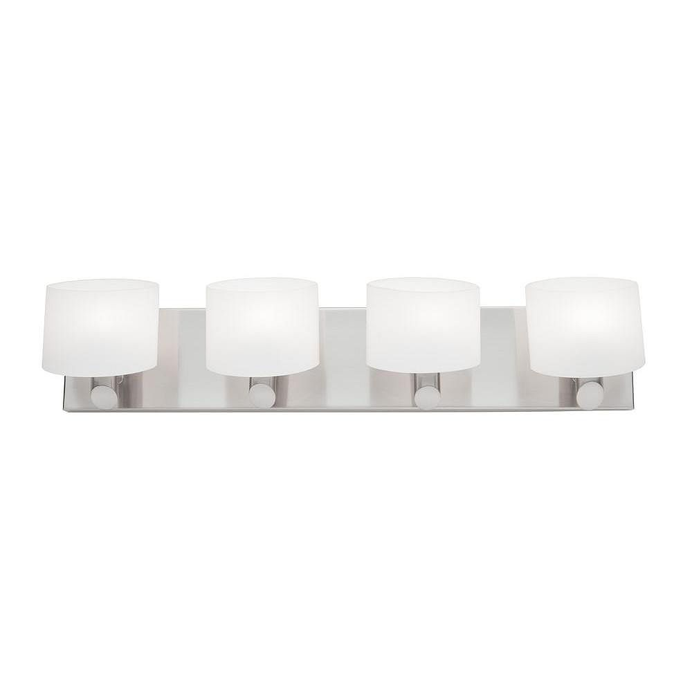 Filament Design 4 Light Wall Brushed Nickel Halogen Bathroom Vanity
