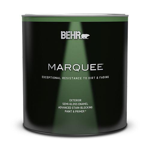 Peinture et apprêt en un BEHR Marquee dextérieur, fini émail semi-brillant blanc ultra pur, 946 ml