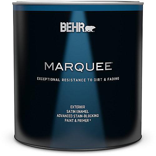 Peinture et apprêt en un BEHR MarqueeMC dextérieur avec fini émail satiné blanc ultra pur (946ml)