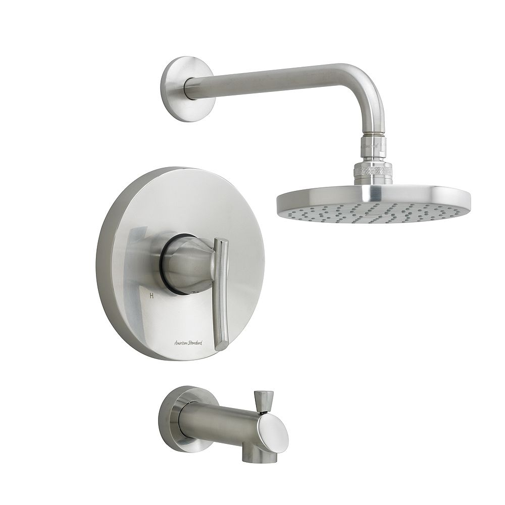 American Standard Green Tea Single Handle Bath/Shower Faucet with Rain Showerhead and Shower Arm with Diverter in Brass