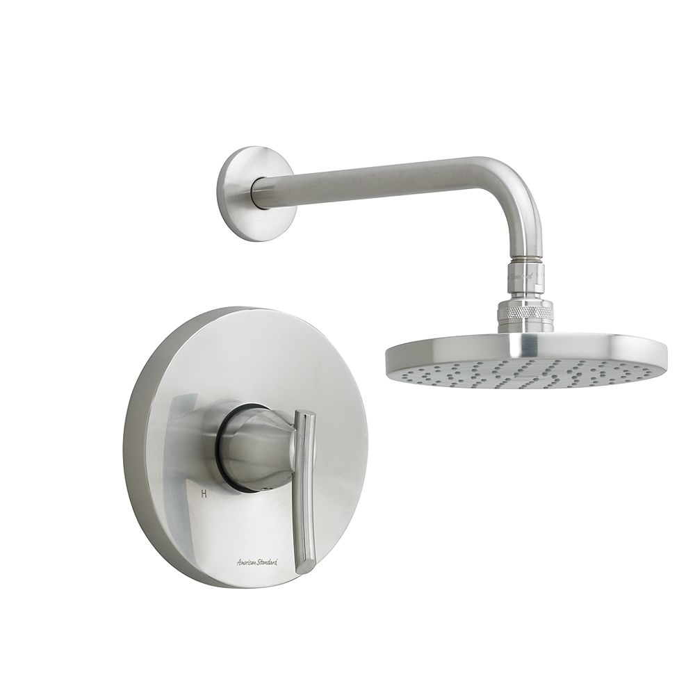 American Standard Green Tea Single Handle Shower Faucet Rain Showerhead with Shower Arm and Lever Handle in Brass
