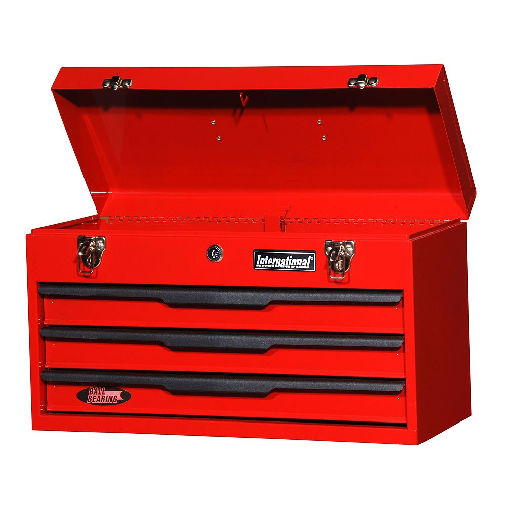 International 21-inch 3-Drawer Portable Tool Storage Chest in Red