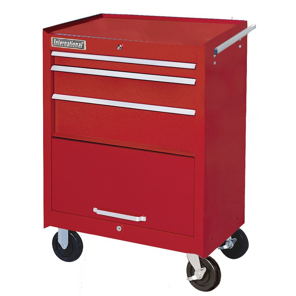 International 27-inch 3-Drawer Mobile Tool Storage Cabinet with Storage Compartment in Red