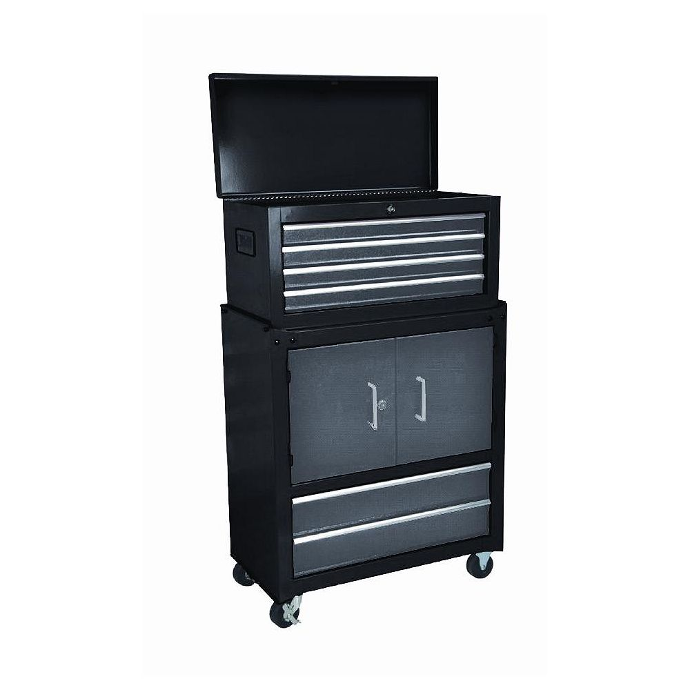International 6-Drawer 2-Door Mobile Tool Storage Cabinet and Chest Combo in Black