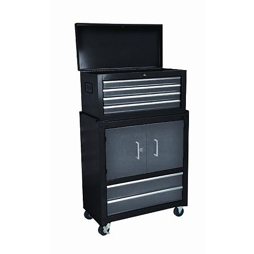 6-Drawer 2-Door Mobile Tool Storage Cabinet and Chest Combo in Black