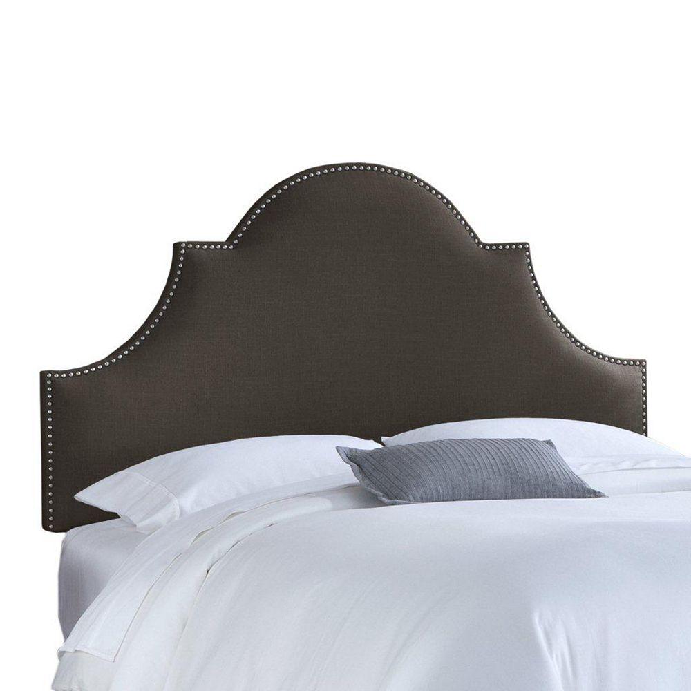 Skyline Furniture Upholstered Queen Headboard in Linen Charcoal