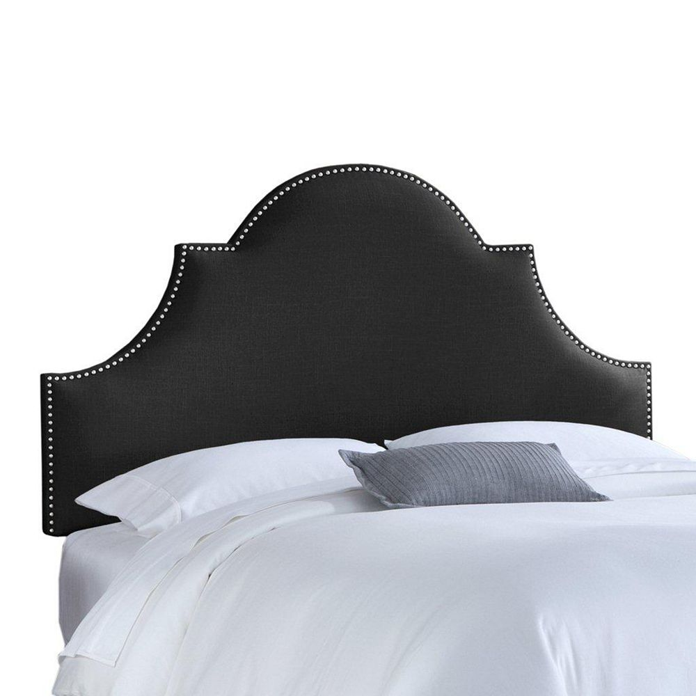 Skyline Furniture Upholstered California King Headboard in Linen Black