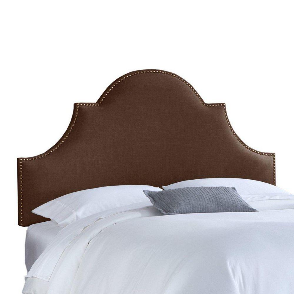 Skyline Furniture Upholstered Full Headboard in Linen Chocolate