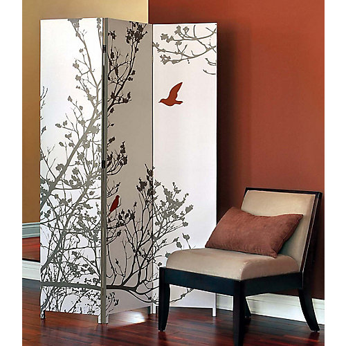 Bota 48-inch x 71-inch x 1-Inch Triple Canvas Screen Room Divider with Tree and Red Bird Pattern