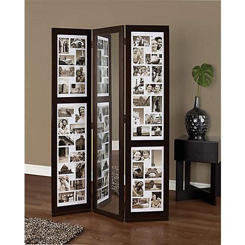 Preston – Paravent à trois panneaux, soit deux panneaux pour photos (42photos de4po x6po et2photos de4po x4po) et un panneau miroir (L42po x H65po).