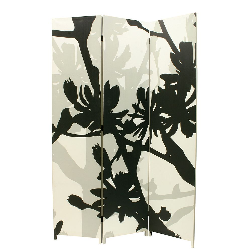 nexxt Bota Triple Canvas Screen, Floral Design In Black/White/Taupe.48 Inch X71 Inch X1 Inch