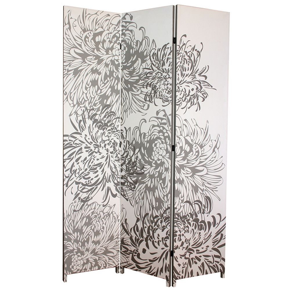 nexxt Bota Triple Canvas Screen, Chrysanthemum Pattern In Grey. 48 Inch X 71 Inch X1 Inch .