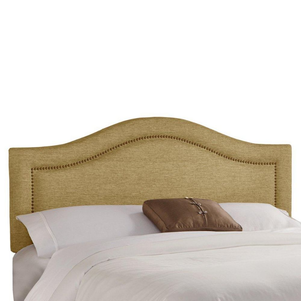 Skyline Furniture Twin Inset Nail Button Headboard in Glitz Filbert with Brass Nail Buttons