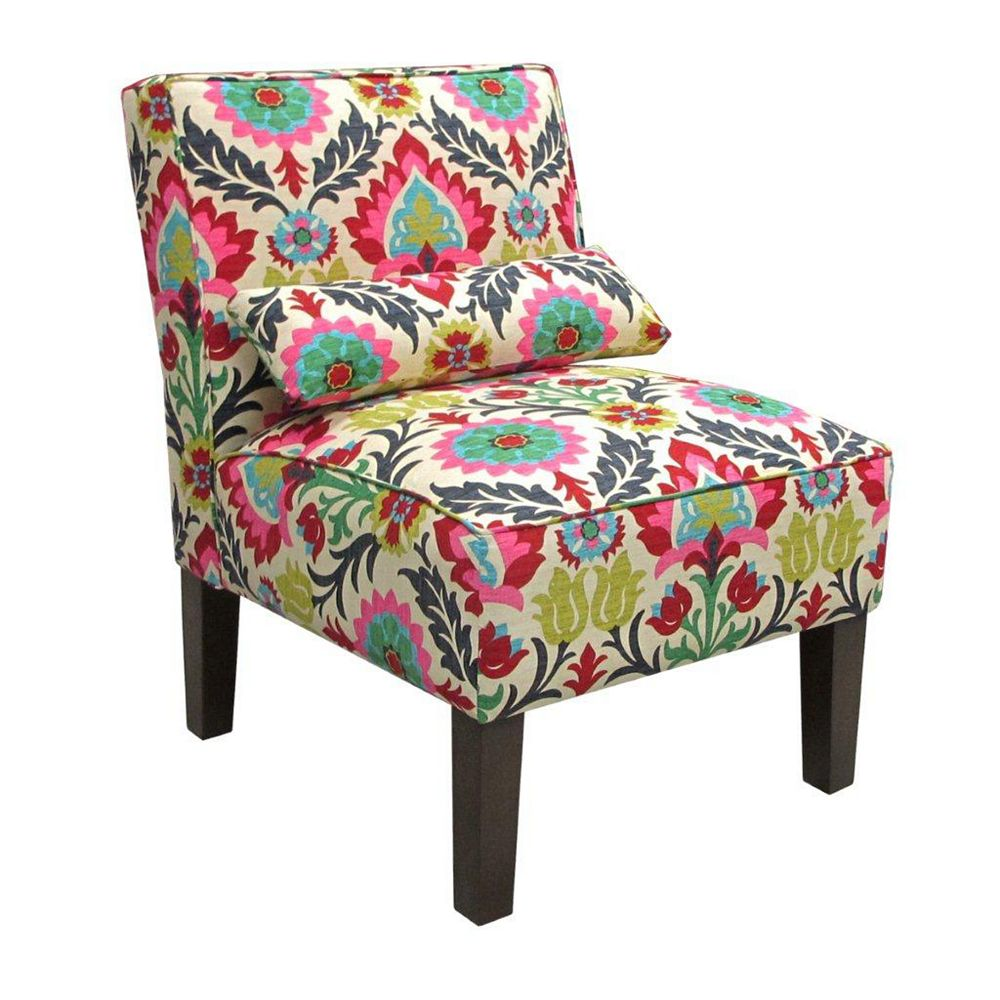 Skyline Furniture Traditional Slipper Cotton Armless Accent Chair in Pink with Floral Pattern