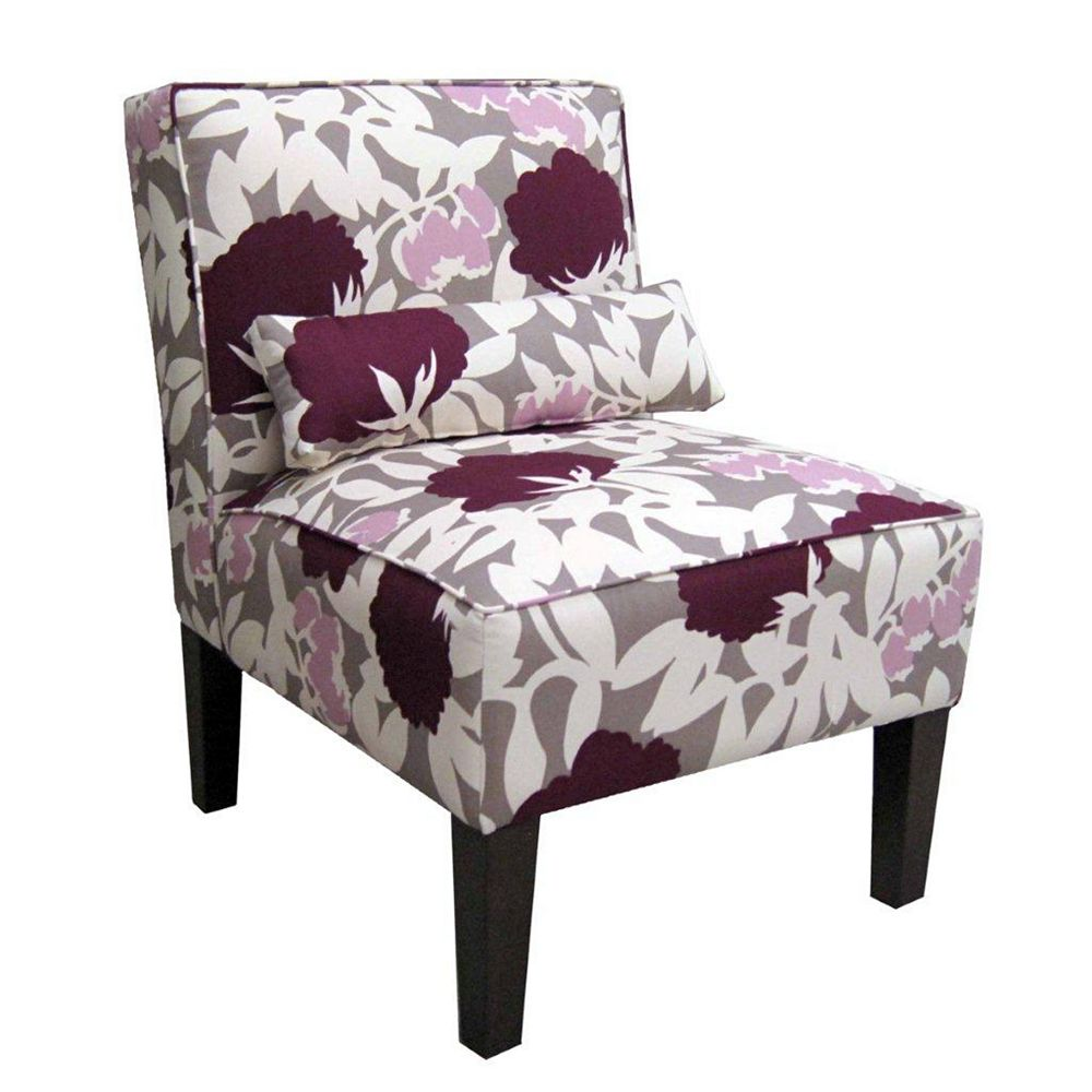 Skyline Furniture Upholstered Armless Chair in Peony Plum