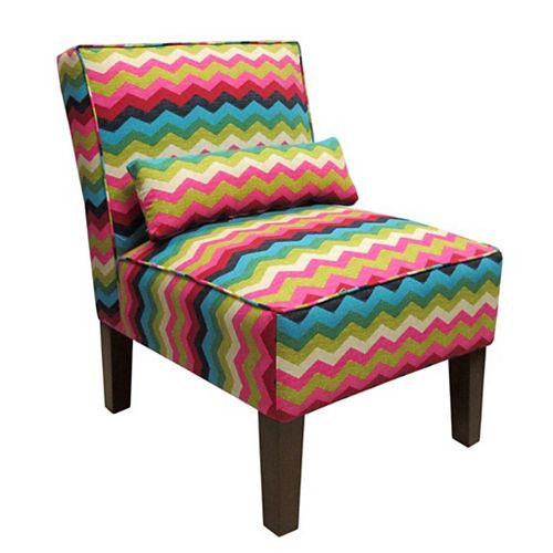 Traditional Slipper Cotton Armless Accent Chair in Pink with Chevron Pattern