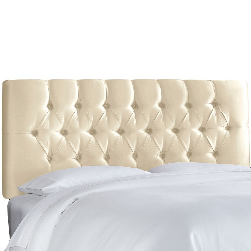 Skyline Furniture Twin Tufted Headboard in Shantung Parchment