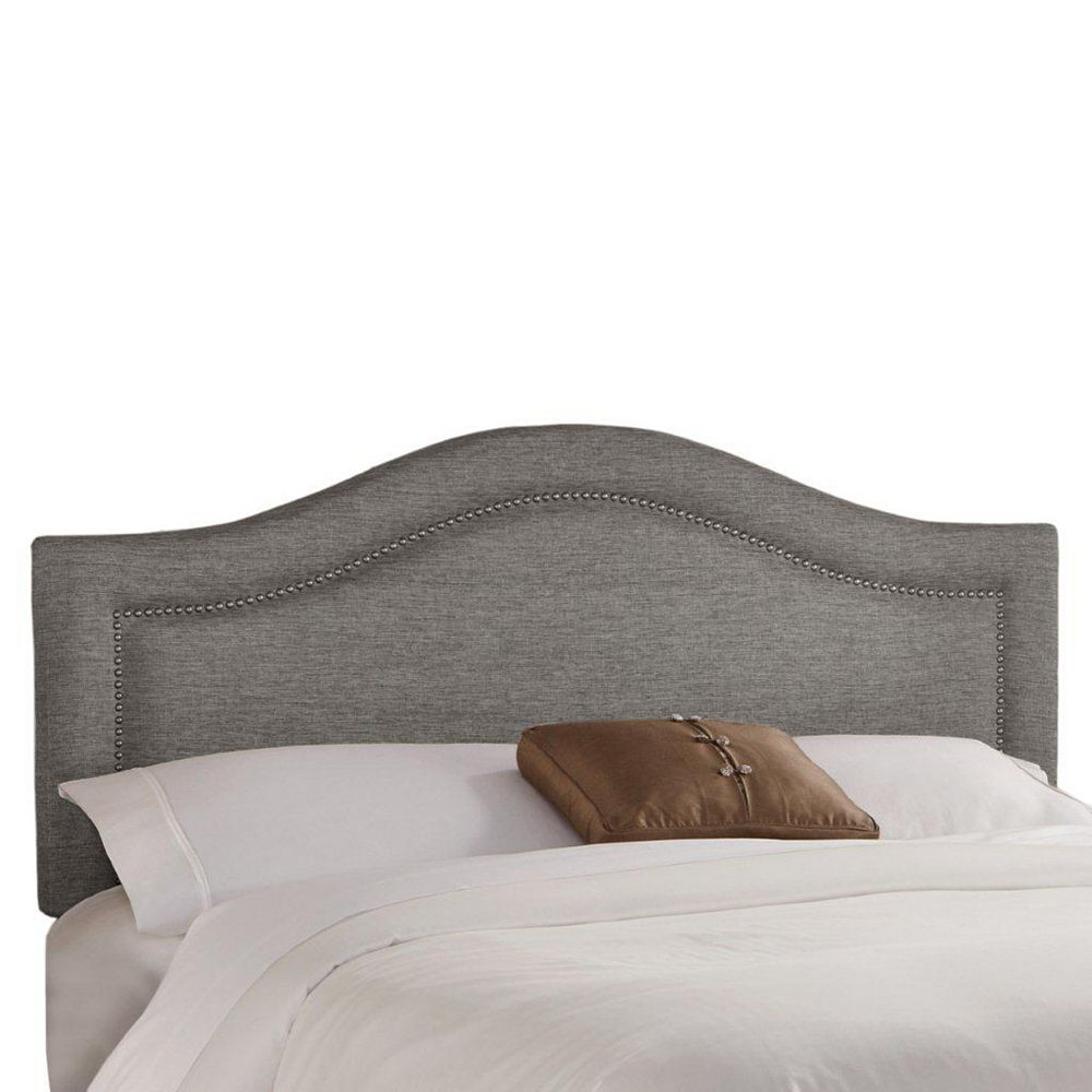 Skyline Furniture California King Inset Nail Button Headboard in Groupie Pewter with Pewter Nail Buttons
