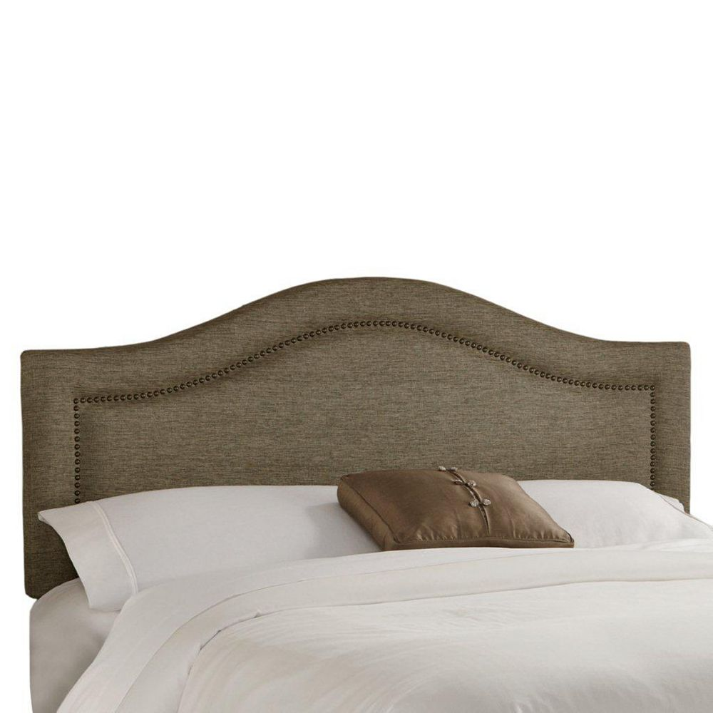 Skyline Furniture California King Inset Nail Button Headboard in Groupie Gunmetal with Brass Nail Buttons