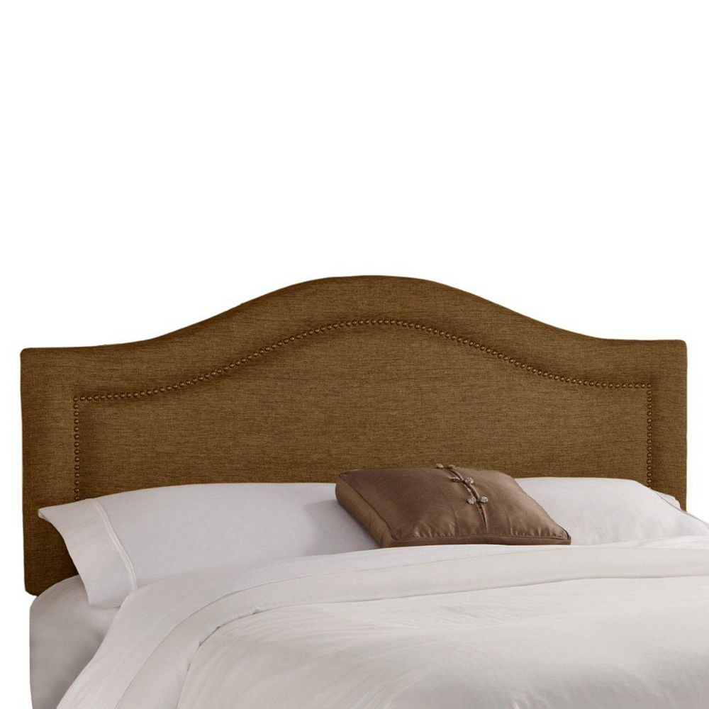 Skyline Furniture King Inset Nail Button Headboard in Groupie Praline with Brass Nail Buttons