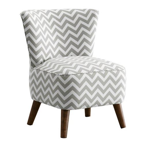 Traditional Occasional Cotton Accent Chair in Grey with Chevron Pattern