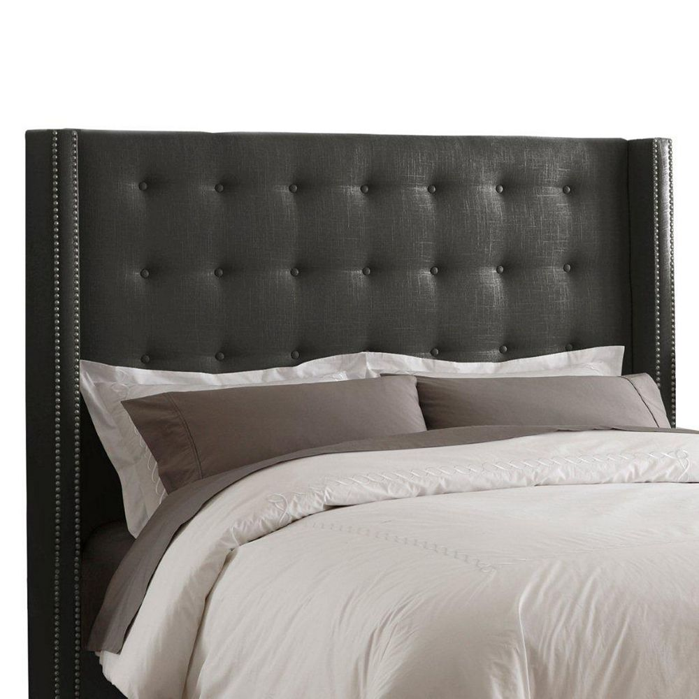 Skyline Furniture California King Nail Button Tufted Headboard in Linen Charcoal with Pewter Nail Buttons
