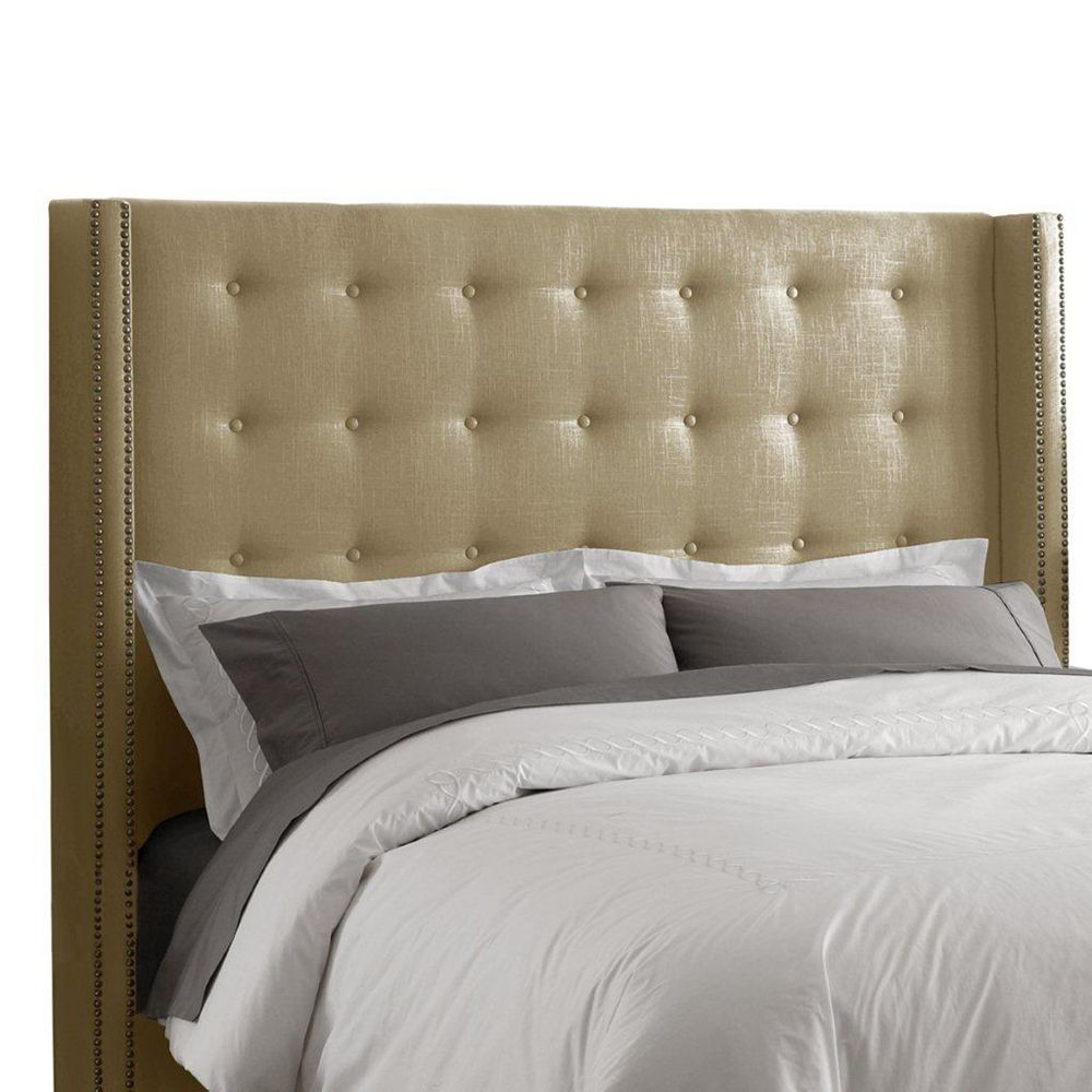 Skyline Furniture Full Nail Button Tufted Headboard in Linen Sandstone with Brass Nail Buttons