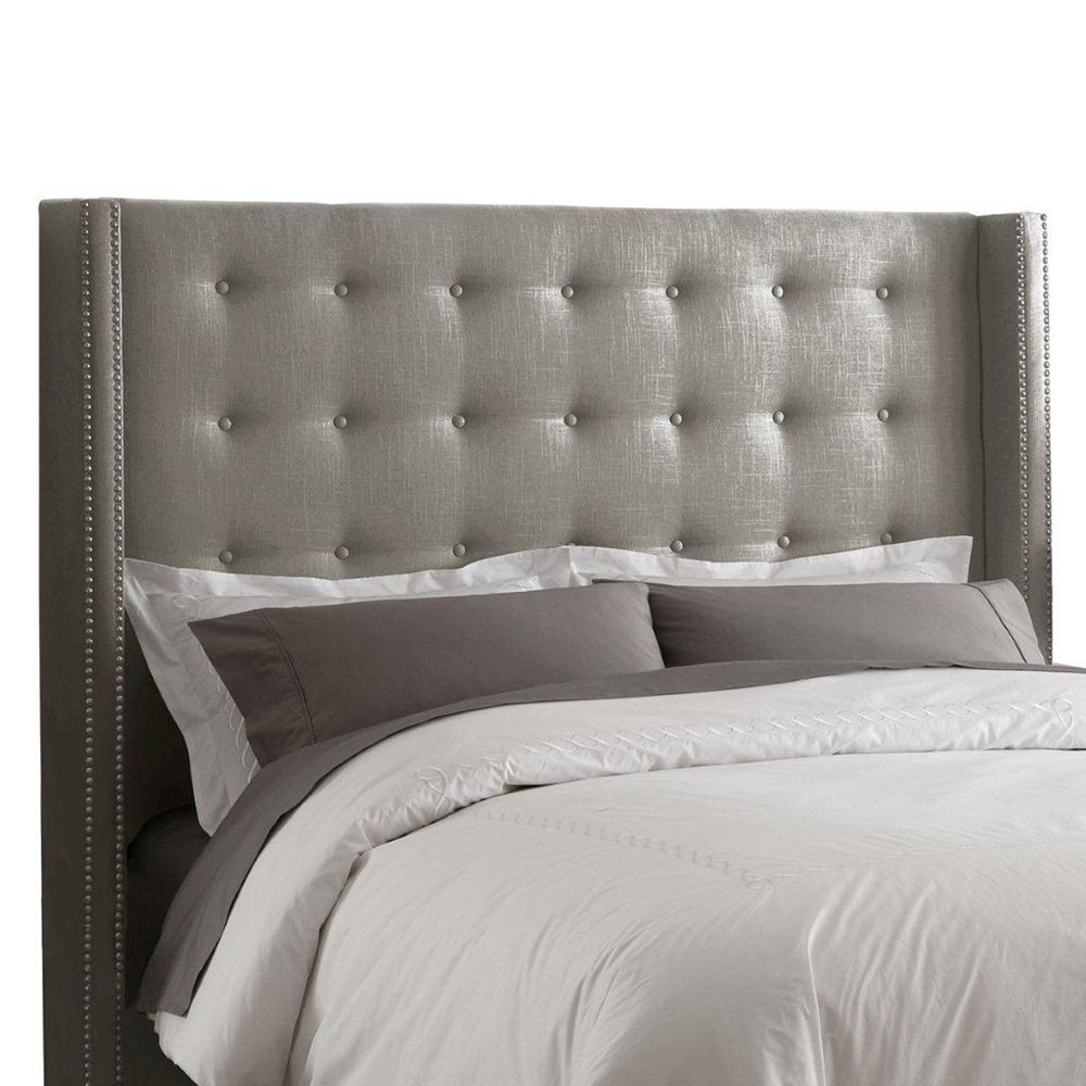 Skyline Furniture Full Nail Button Tufted Headboard in Linen Grey with Pewter Nail Buttons
