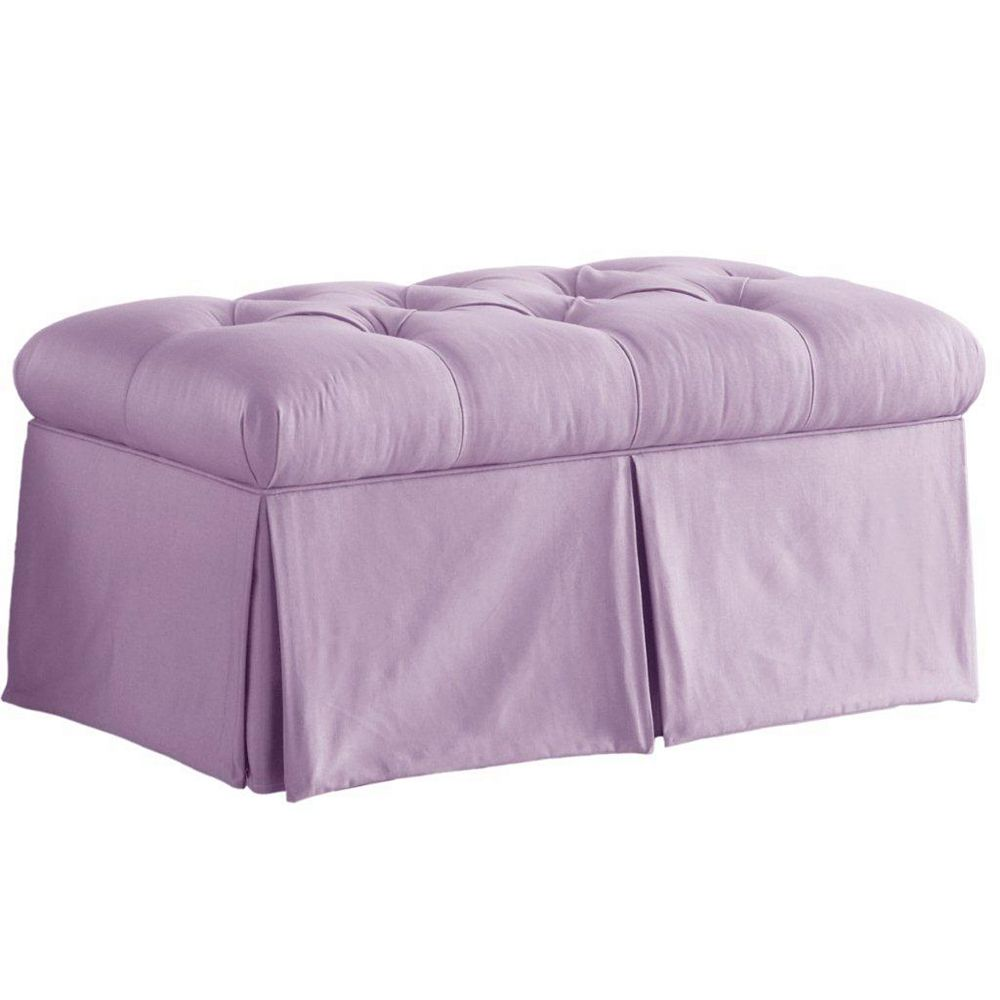Skyline Furniture Shantung 36-inch x 18-inch x 18.5-inch Polyester/Polyester Blend Ottoman in Purple