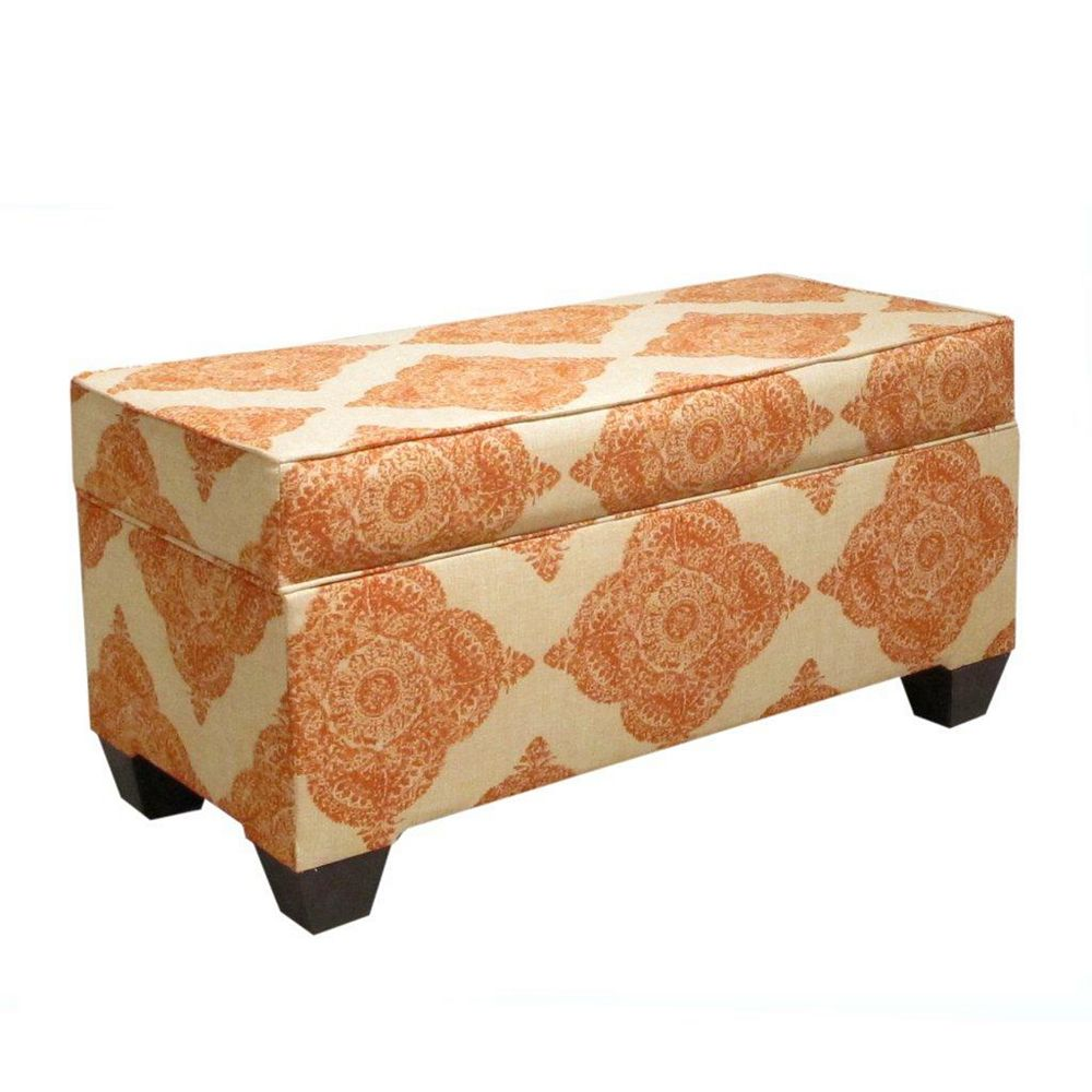 Skyline Furniture 36-inch x 18-inch x 18-inch Ottoman in Orange