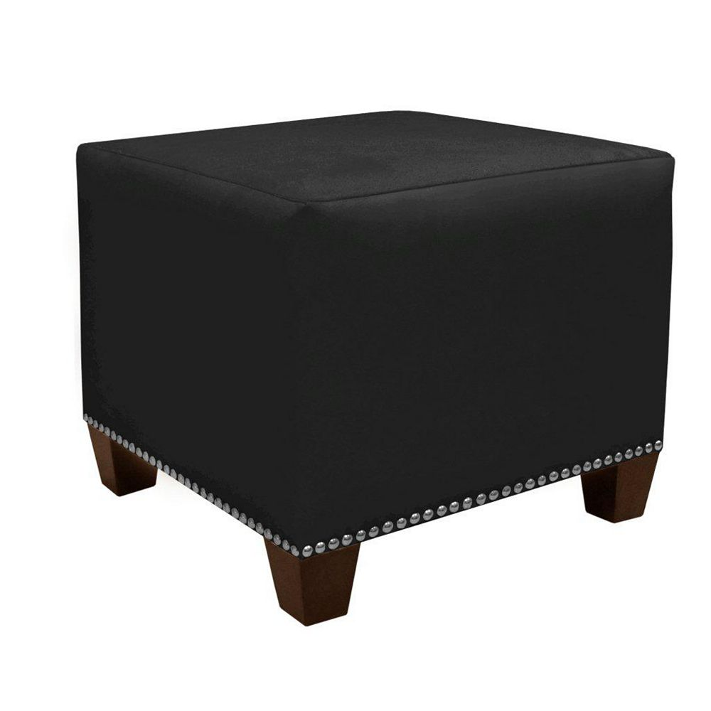 Skyline Furniture Square 18.5-inch x 16-inch x 18.5-inch Polyester/Polyester Blend Ottoman in Black