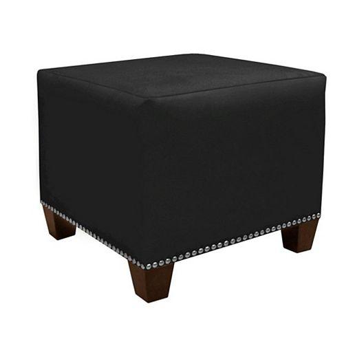 Pouf Square, 18,5po x 16po x 18,5po, polyester/mélange de polyester, noir