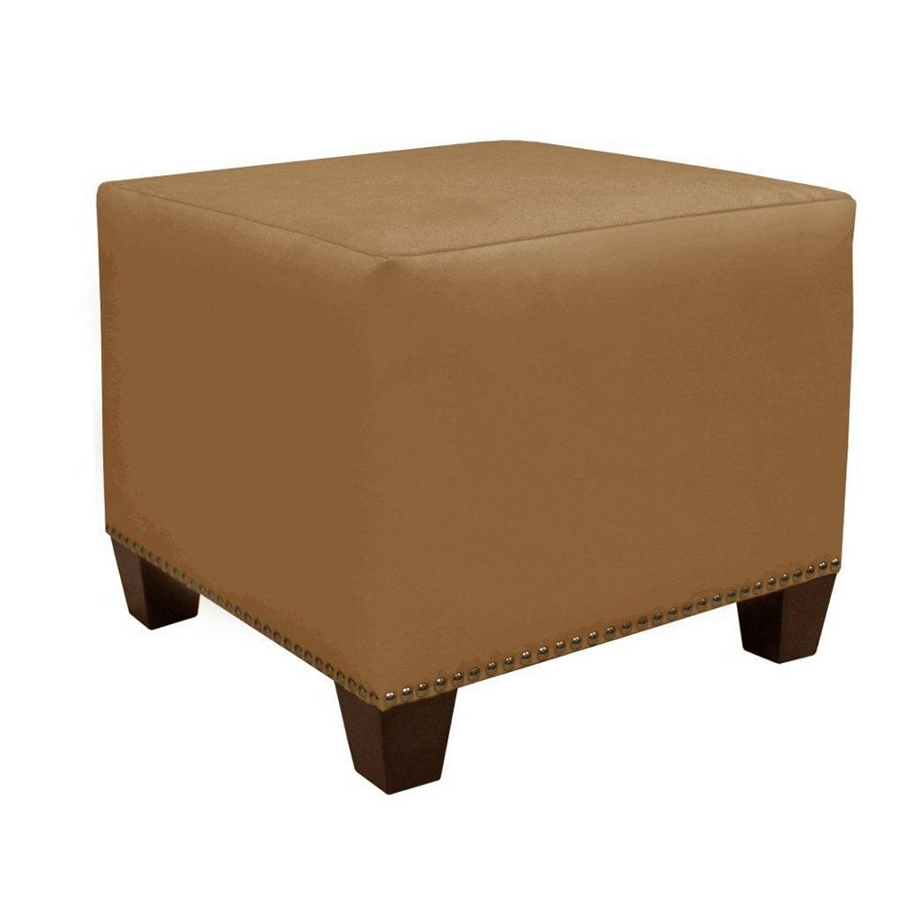 Skyline Furniture Square 18.5-inch x 16-inch x 18.5-inch Polyester/Polyester Blend Ottoman in Beige