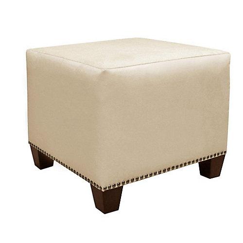 Pouf Square, 18,5po x 16po x 18,5po, polyester/mélange de polyester, beige