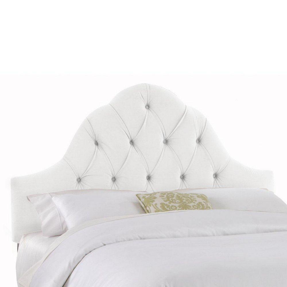 Skyline Furniture Upholstered Queen Headboard in Velvet White