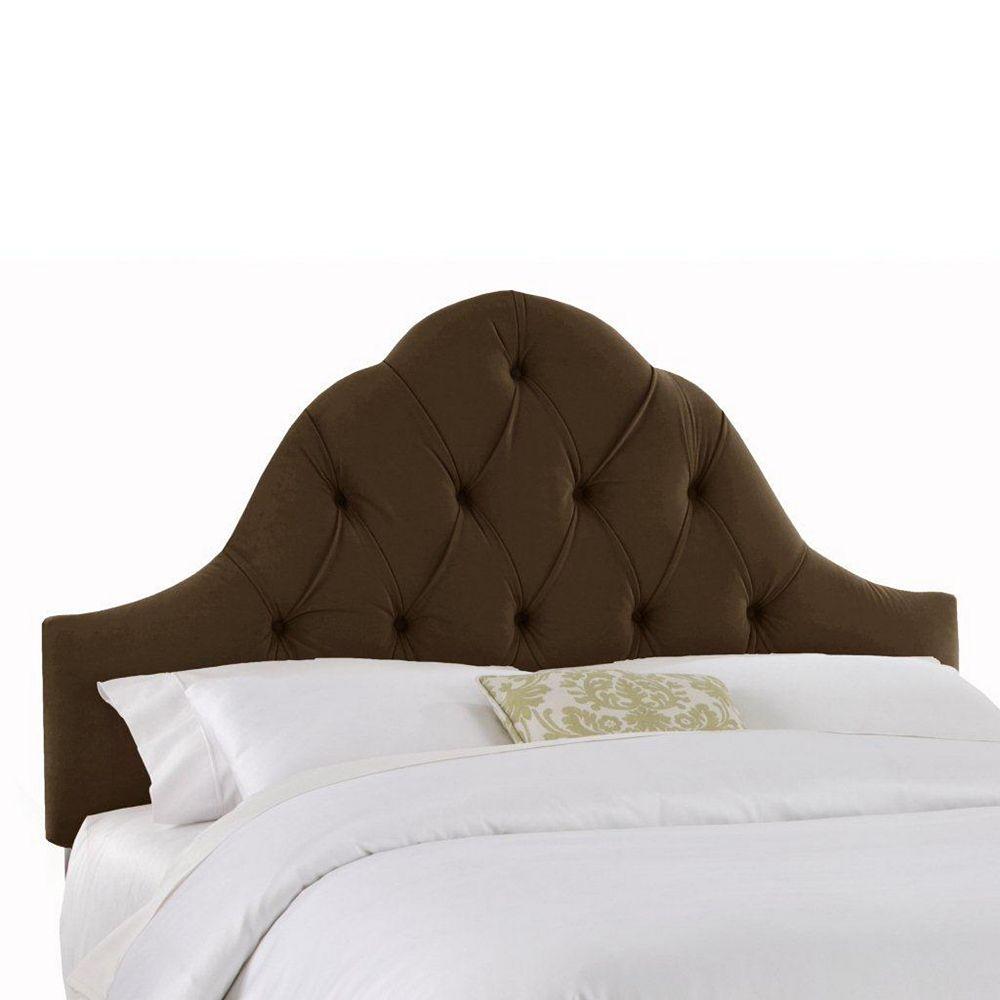 Skyline Furniture Upholstered King Headboard in Velvet Chocolate