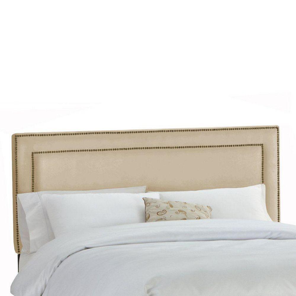 Skyline Furniture Upholstered California King Headboard in Premier Microsuede Oatmeal