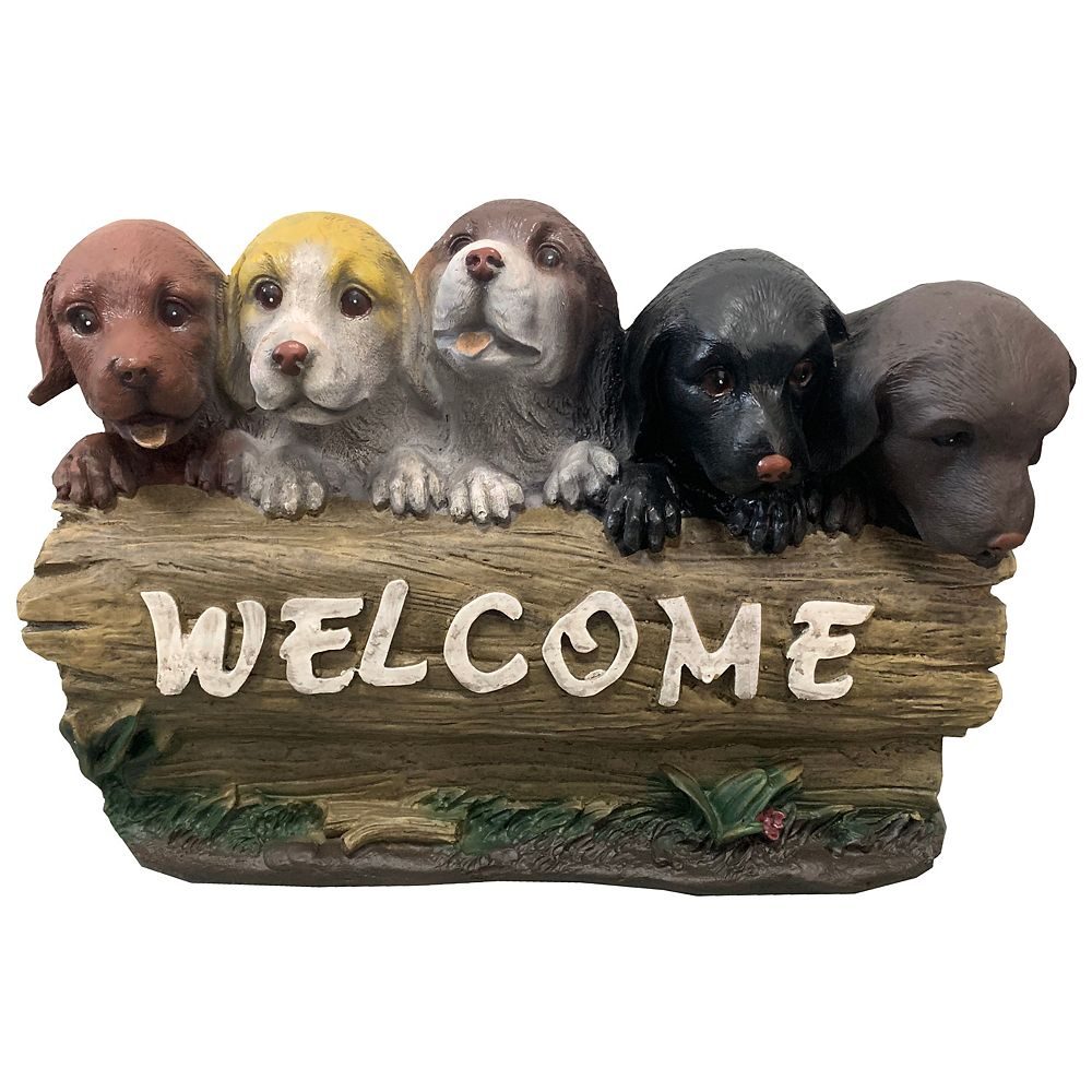 Angelo Décor 5 Puppies Welcome Statue