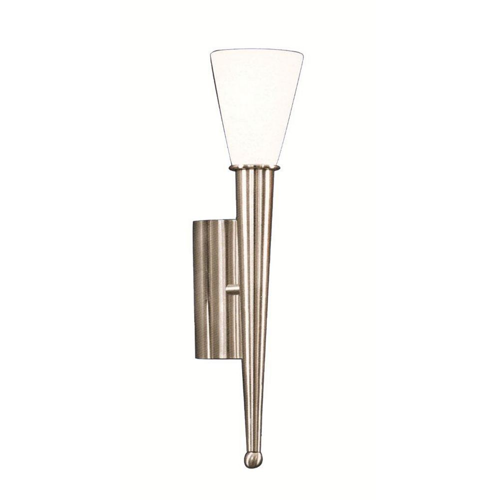 Eglo MARA Wall Light 1L, Matte Nickel Finish, Opal Frosted Glass